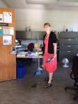 Greta sweeps the office
